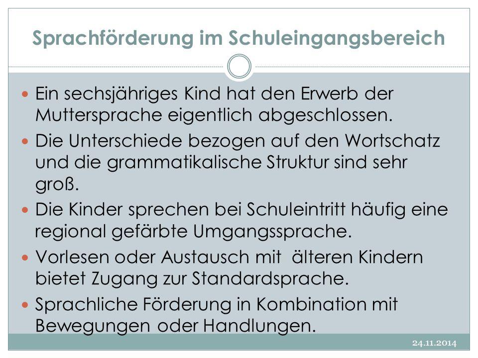 Sprachförderung im Schuleingangsbereich 24.11.2014 Ein sechsjähriges Kind hat den Erwerb der Muttersprache eigentlich abgeschlossen. Die Unterschiede