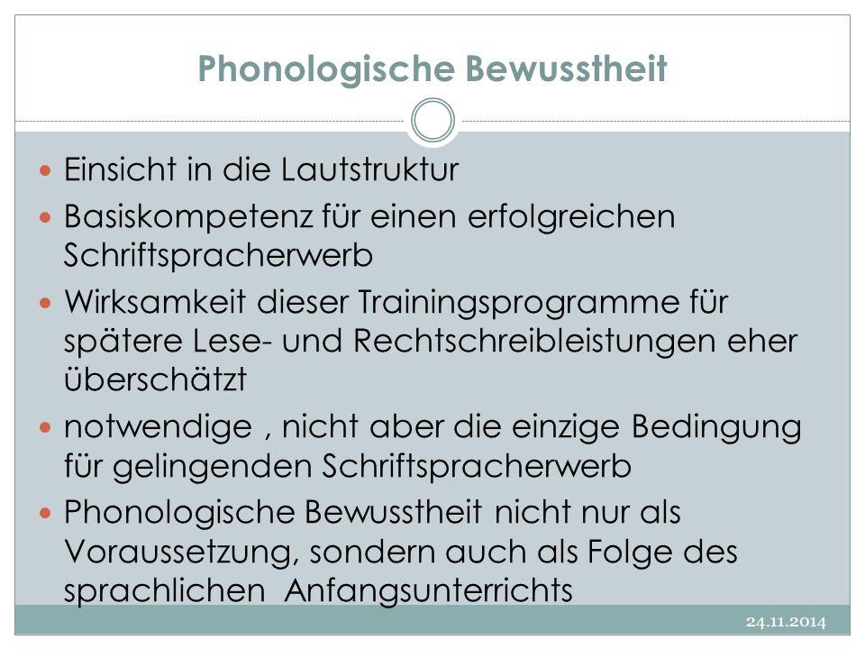 Phonologische Bewusstheit 24.11.2014 Einsicht in die Lautstruktur Basiskompetenz für einen erfolgreichen Schriftspracherwerb Wirksamkeit dieser Traini