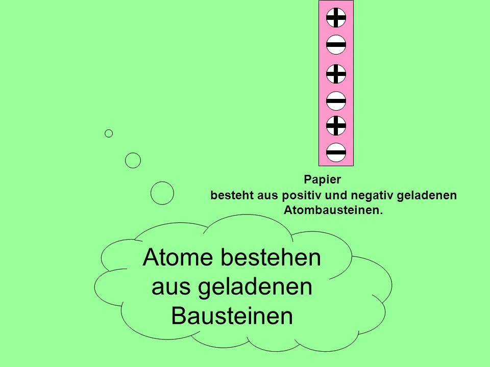 besteht aus positiv und negativ geladenen Atombausteinen. Papier Atome bestehen aus geladenen Bausteinen