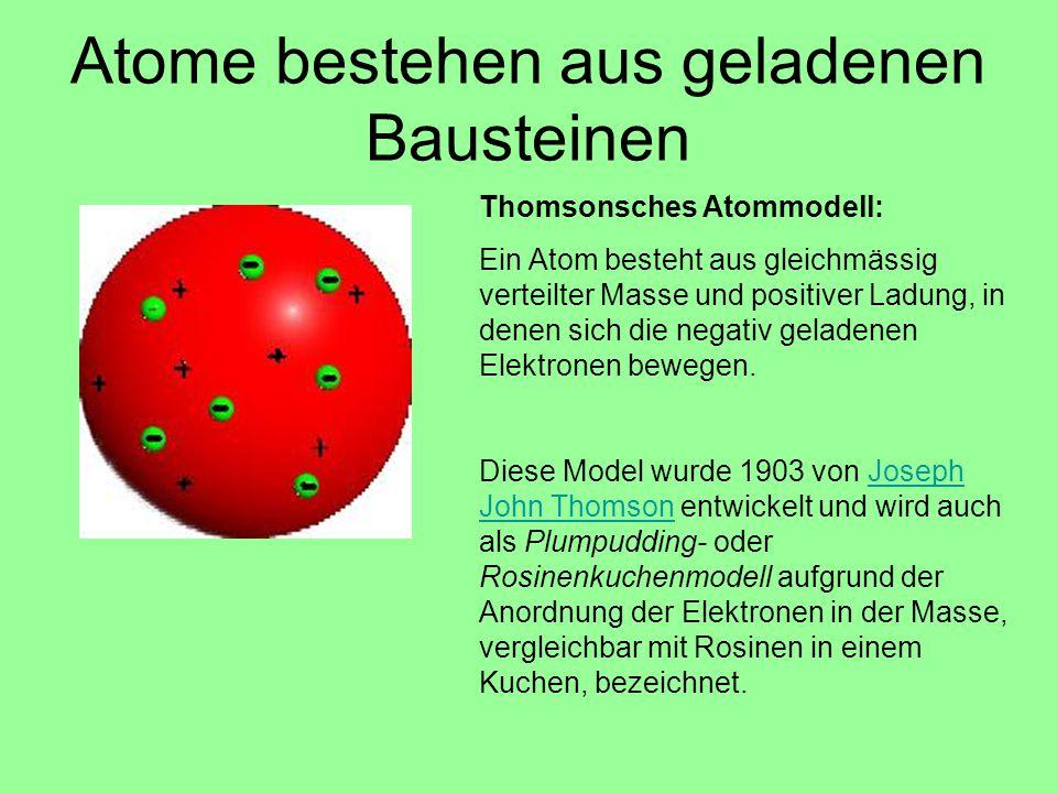 Thomsonsches Atommodell: Ein Atom besteht aus gleichmässig verteilter Masse und positiver Ladung, in denen sich die negativ geladenen Elektronen beweg