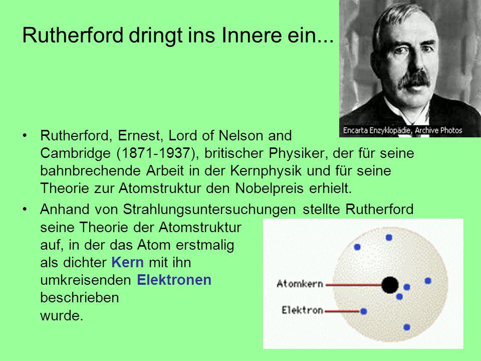 Rutherford dringt ins Innere ein... Rutherford, Ernest, Lord of Nelson and Cambridge (1871-1937), britischer Physiker, der für seine bahnbrechende Arb
