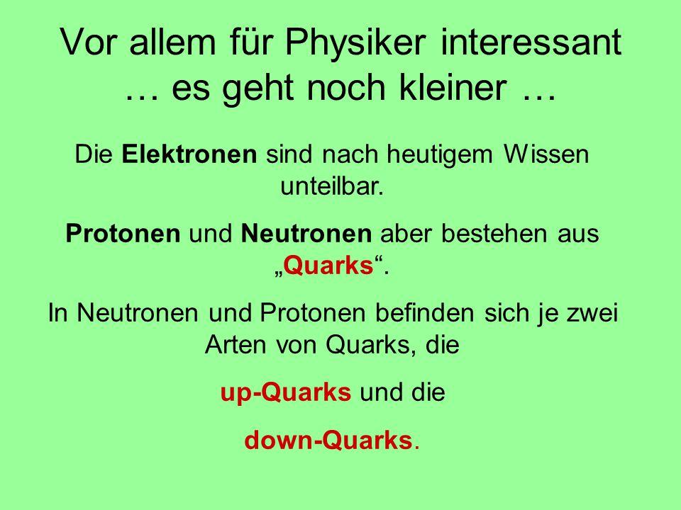 Vor allem für Physiker interessant … es geht noch kleiner … Die Elektronen sind nach heutigem Wissen unteilbar. Protonen und Neutronen aber bestehen a