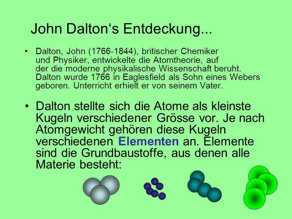 John Dalton's Entdeckung... Dalton, John (1766-1844), britischer Chemiker und Physiker, entwickelte die Atomtheorie, auf der die moderne physikalische
