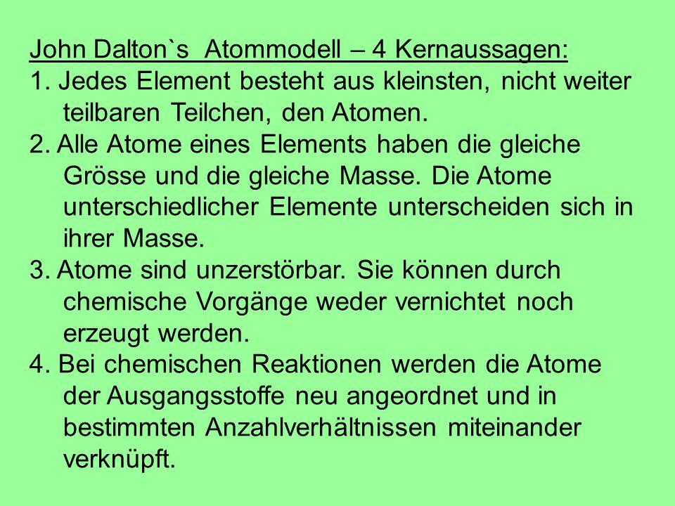 John Dalton`s Atommodell – 4 Kernaussagen: 1. Jedes Element besteht aus kleinsten, nicht weiter teilbaren Teilchen, den Atomen. 2. Alle Atome eines El