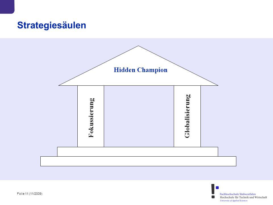 Folie 11 (11/2009) Strategiesäulen Fokussierung Hidden Champion Globalisierung