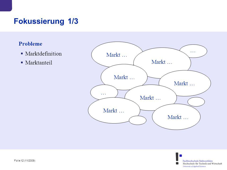 Folie 12 (11/2009) Fokussierung 1/3 Probleme Markt … … …  Marktdefinition  Marktanteil