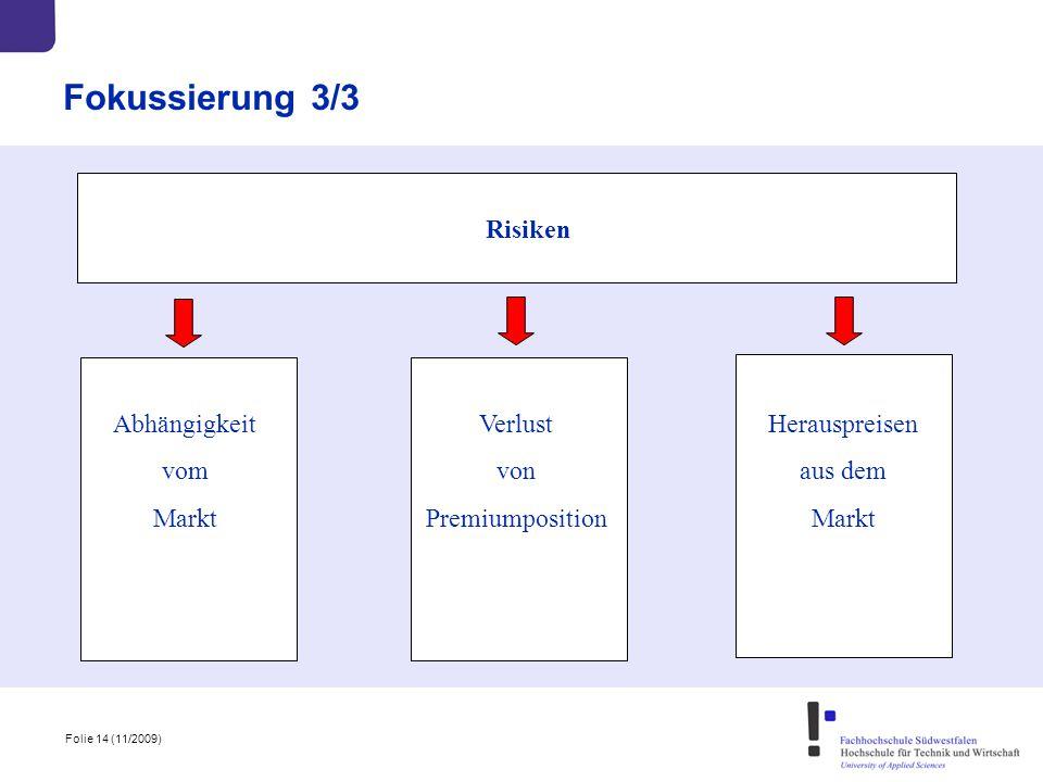 Folie 14 (11/2009) Fokussierung 3/3 Risiken Abhängigkeit vom Markt Verlust von Premiumposition Herauspreisen aus dem Markt