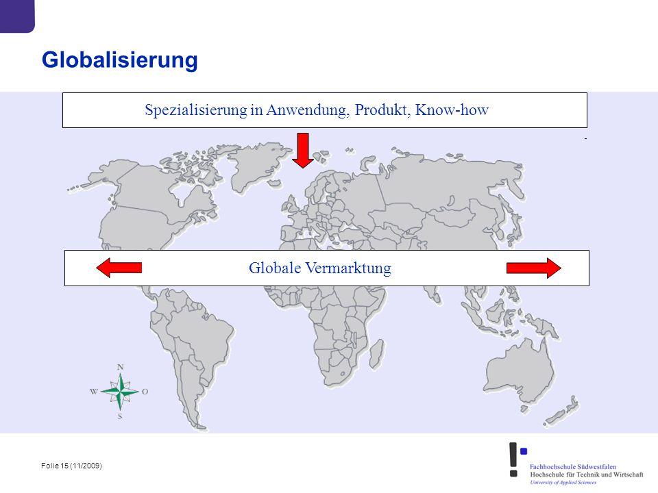 Folie 15 (11/2009) Globalisierung Spezialisierung in Anwendung, Produkt, Know-how Globale Vermarktung Spezialisierung in Anwendung, Produkt, Know-how
