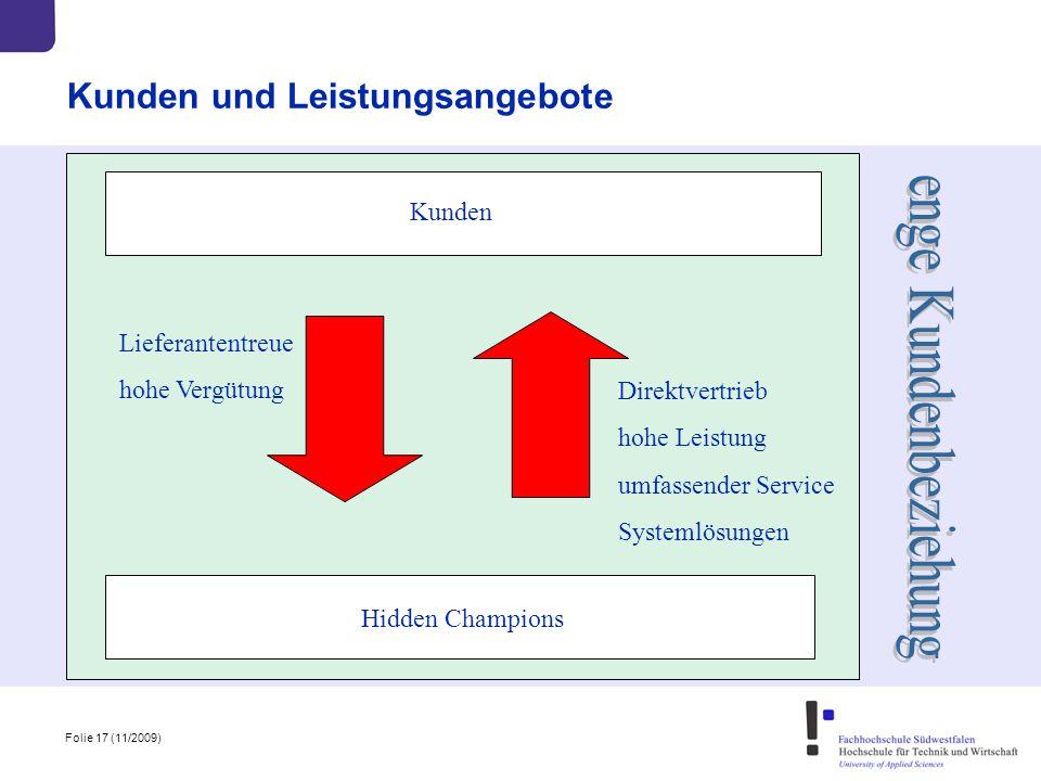 Folie 17 (11/2009) Kunden und Leistungsangebote Kunden Hidden Champions Direktvertrieb hohe Leistung umfassender Service Systemlösungen Lieferantentre