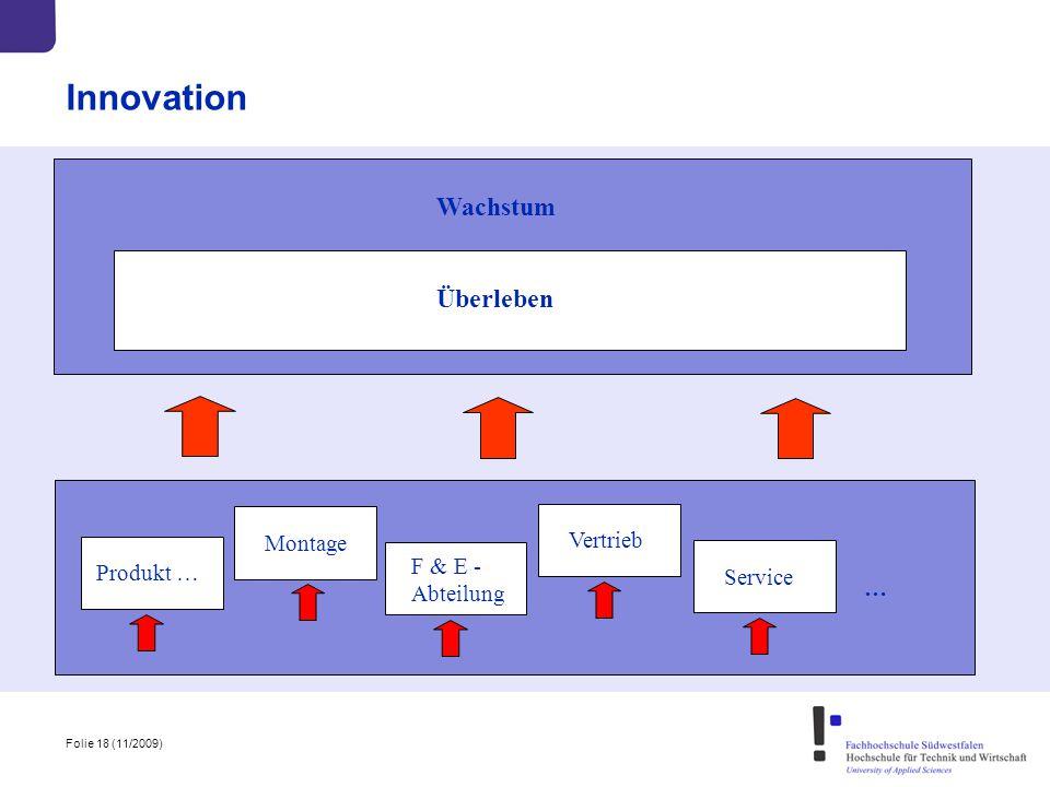 Folie 18 (11/2009) Innovation Produkt … Montage F & E - Abteilung Vertrieb … Service Wachstum Überleben