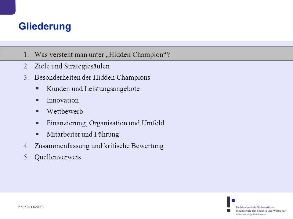 """Folie 3 (11/2009) Gliederung 1.Was versteht man unter """"Hidden Champion""""? 2.Ziele und Strategiesäulen 3.Besonderheiten der Hidden Champions  Kunden un"""