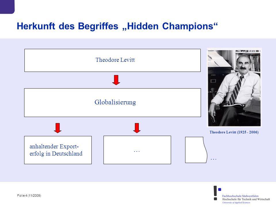 """Folie 4 (11/2009) Herkunft des Begriffes """"Hidden Champions"""" Theodore Levitt Globalisierung Theodore Levitt (1925 - 2006) anhaltender Export- erfolg in"""