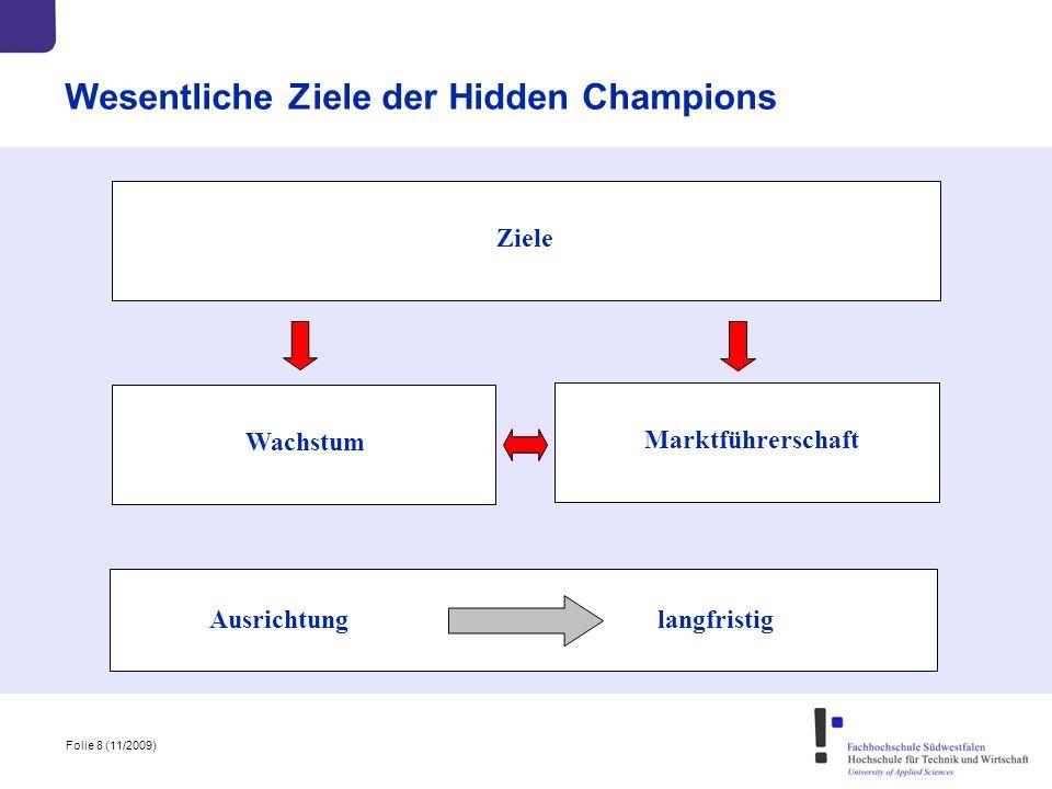 Folie 8 (11/2009) Wesentliche Ziele der Hidden Champions Ausrichtung langfristig Ziele Wachstum Marktführerschaft