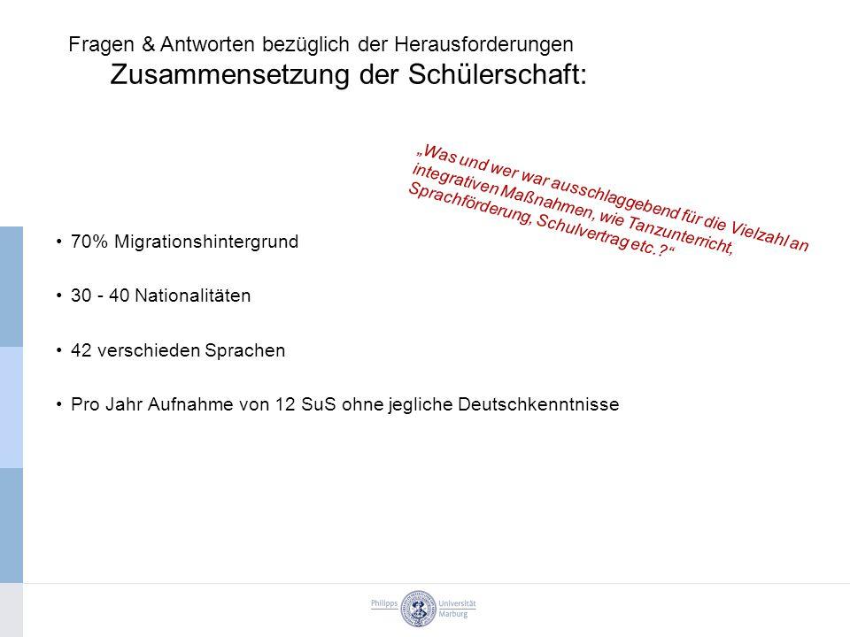 """70% Migrationshintergrund 30 - 40 Nationalitäten 42 verschieden Sprachen Pro Jahr Aufnahme von 12 SuS ohne jegliche Deutschkenntnisse """"Was und wer war"""