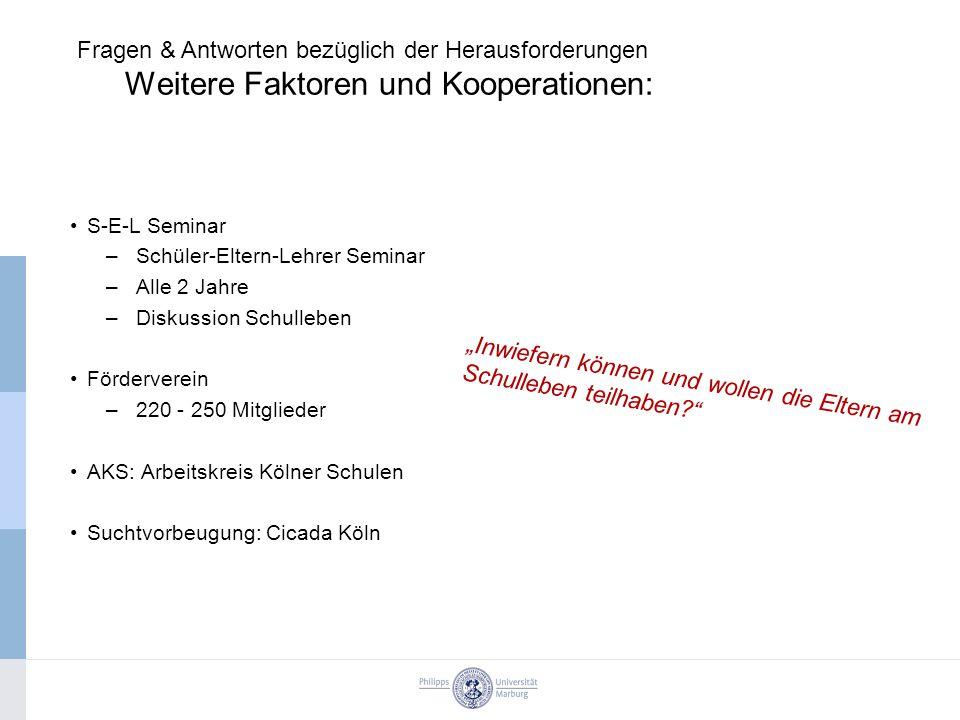 S-E-L Seminar –Schüler-Eltern-Lehrer Seminar –Alle 2 Jahre –Diskussion Schulleben Förderverein –220 - 250 Mitglieder AKS: Arbeitskreis Kölner Schulen