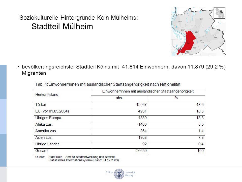 Soziokulturelle Hintergründe Köln Mülheims: Stadtteil Mülheim bevölkerungsreichster Stadtteil Kölns mit 41.814 Einwohnern, davon 11.879 (29,2 %) Migranten