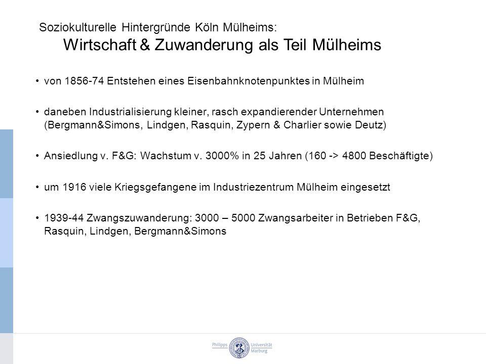 von 1856-74 Entstehen eines Eisenbahnknotenpunktes in Mülheim daneben Industrialisierung kleiner, rasch expandierender Unternehmen (Bergmann&Simons, Lindgen, Rasquin, Zypern & Charlier sowie Deutz) Ansiedlung v.