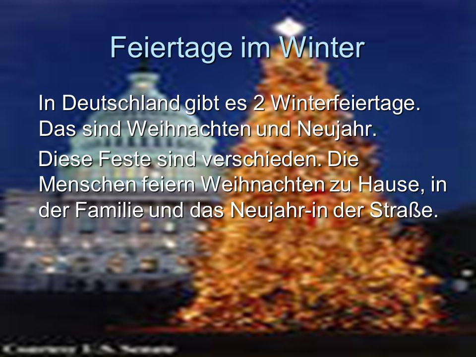 Feiertage im Winter In Deutschland gibt es 2 Winterfeiertage. Das sind Weihnachten und Neujahr. In Deutschland gibt es 2 Winterfeiertage. Das sind Wei