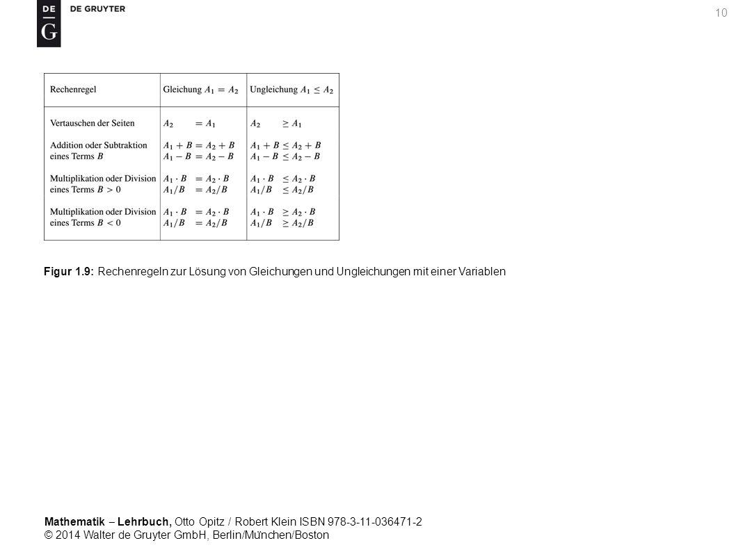 Mathematik ‒ Lehrbuch, Otto Opitz / Robert Klein ISBN 978-3-11-036471-2 © 2014 Walter de Gruyter GmbH, Berlin/Mu ̈ nchen/Boston 10 Figur 1.9: Rechenregeln zur Lösung von Gleichungen und Ungleichungen mit einer Variablen