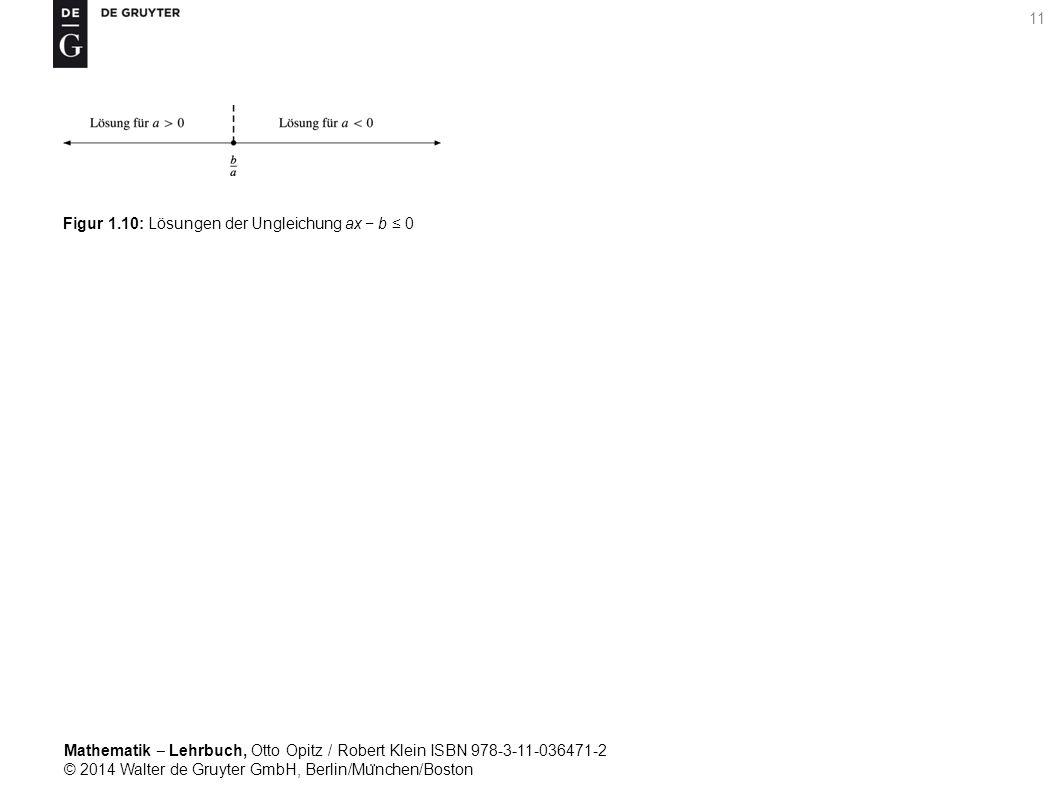Mathematik ‒ Lehrbuch, Otto Opitz / Robert Klein ISBN 978-3-11-036471-2 © 2014 Walter de Gruyter GmbH, Berlin/Mu ̈ nchen/Boston 11 Figur 1.10: Lösungen der Ungleichung ax − b ≤ 0