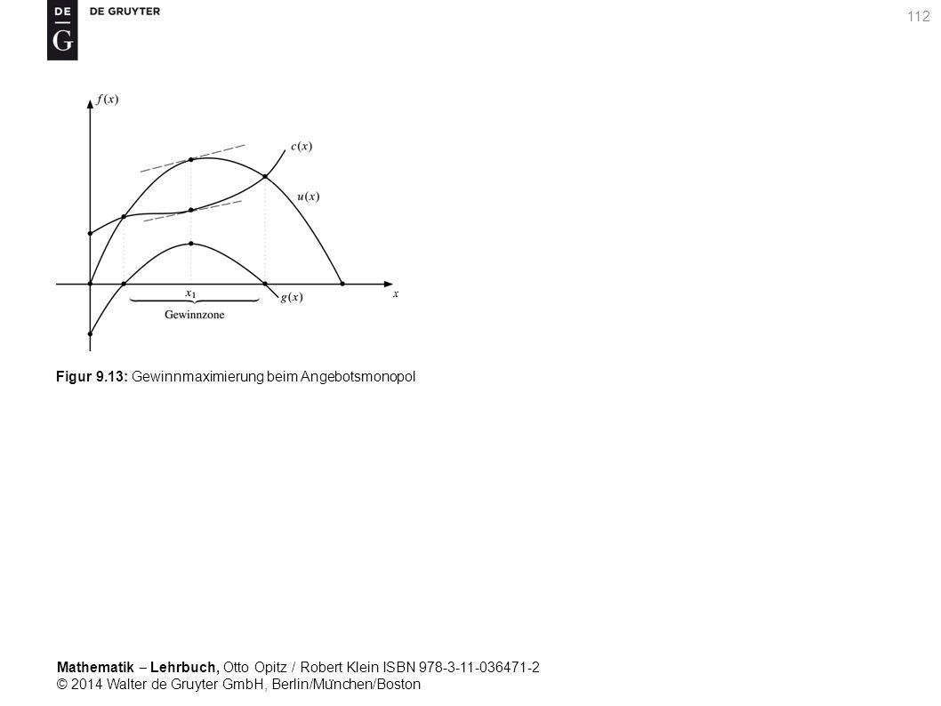 Mathematik ‒ Lehrbuch, Otto Opitz / Robert Klein ISBN 978-3-11-036471-2 © 2014 Walter de Gruyter GmbH, Berlin/Mu ̈ nchen/Boston 112 Figur 9.13: Gewinnmaximierung beim Angebotsmonopol