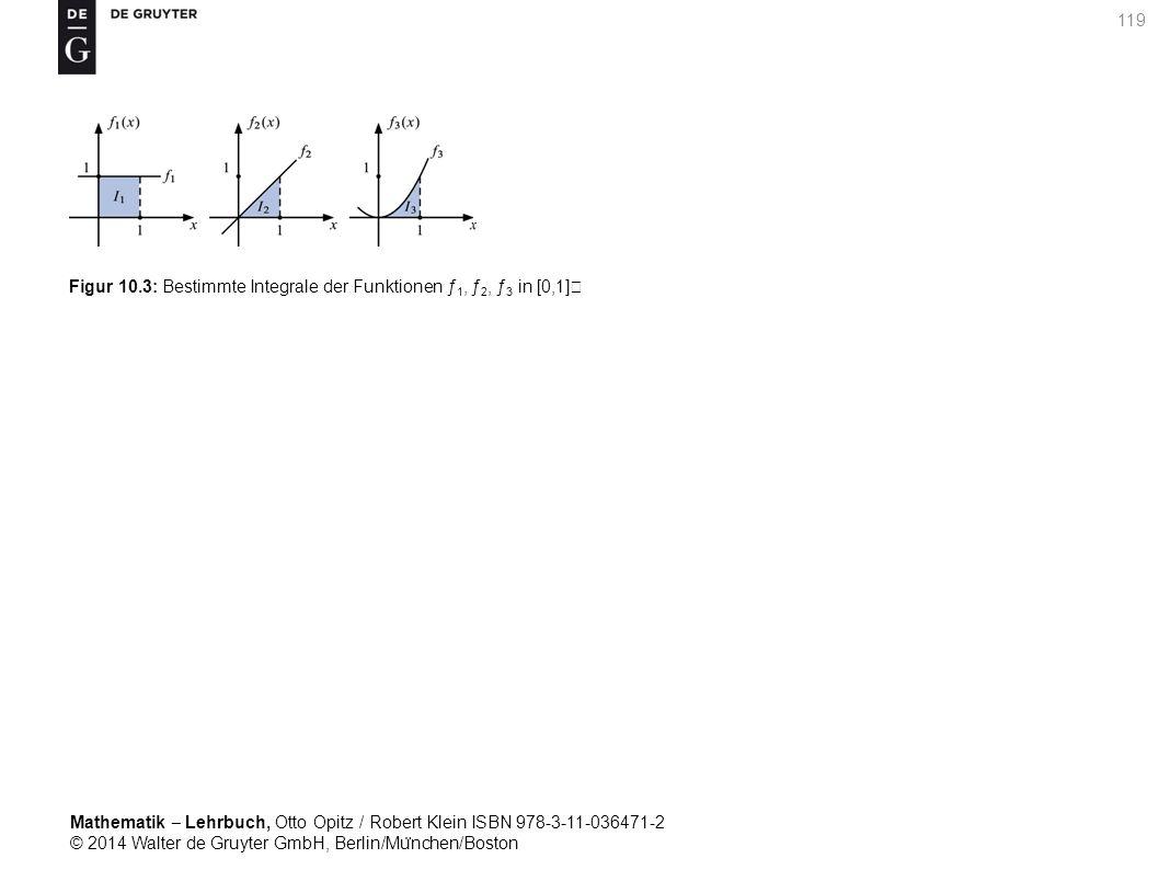 Mathematik ‒ Lehrbuch, Otto Opitz / Robert Klein ISBN 978-3-11-036471-2 © 2014 Walter de Gruyter GmbH, Berlin/Mu ̈ nchen/Boston 119 Figur 10.3: Bestimmte Integrale der Funktionen ƒ 1, ƒ 2, ƒ 3 in [0,1]