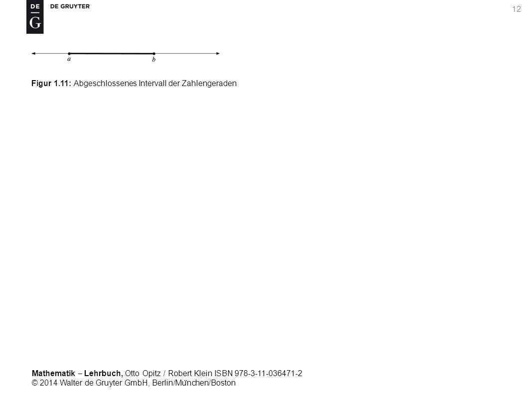 Mathematik ‒ Lehrbuch, Otto Opitz / Robert Klein ISBN 978-3-11-036471-2 © 2014 Walter de Gruyter GmbH, Berlin/Mu ̈ nchen/Boston 12 Figur 1.11: Abgeschlossenes Intervall der Zahlengeraden