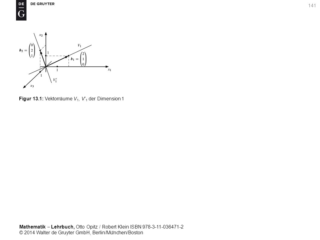 Mathematik ‒ Lehrbuch, Otto Opitz / Robert Klein ISBN 978-3-11-036471-2 © 2014 Walter de Gruyter GmbH, Berlin/Mu ̈ nchen/Boston 141 Figur 13.1: Vektorräume V 1, V′ 1 der Dimension 1