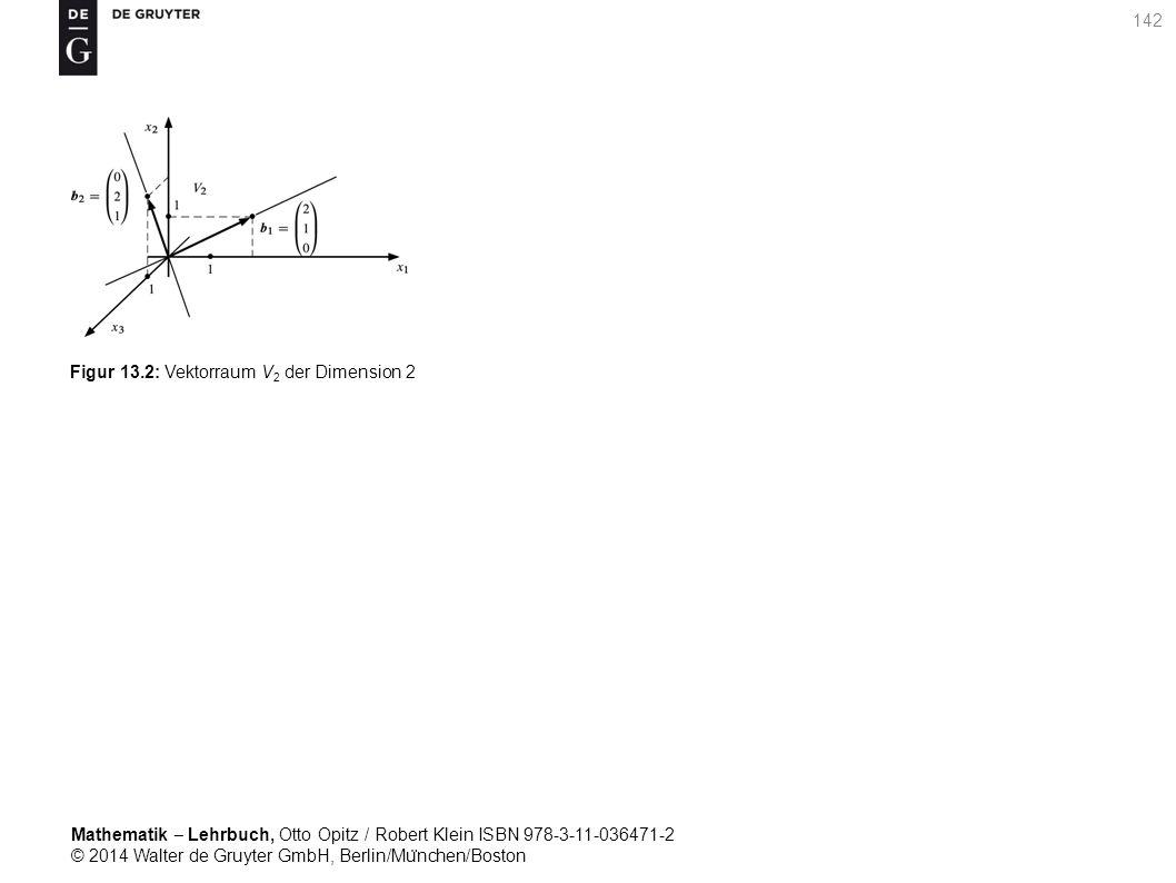 Mathematik ‒ Lehrbuch, Otto Opitz / Robert Klein ISBN 978-3-11-036471-2 © 2014 Walter de Gruyter GmbH, Berlin/Mu ̈ nchen/Boston 142 Figur 13.2: Vektorraum V 2 der Dimension 2
