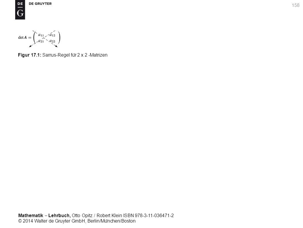 Mathematik ‒ Lehrbuch, Otto Opitz / Robert Klein ISBN 978-3-11-036471-2 © 2014 Walter de Gruyter GmbH, Berlin/Mu ̈ nchen/Boston 158 Figur 17.1: Sarrus-Regel fu ̈ r 2 x 2 -Matrizen