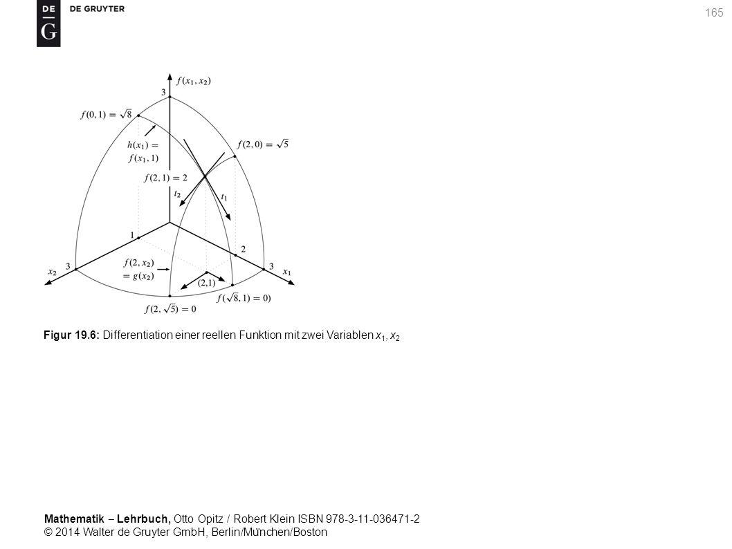 Mathematik ‒ Lehrbuch, Otto Opitz / Robert Klein ISBN 978-3-11-036471-2 © 2014 Walter de Gruyter GmbH, Berlin/Mu ̈ nchen/Boston 165 Figur 19.6: Differentiation einer reellen Funktion mit zwei Variablen x 1, x 2