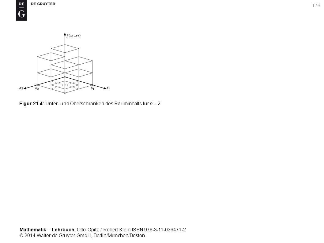 Mathematik ‒ Lehrbuch, Otto Opitz / Robert Klein ISBN 978-3-11-036471-2 © 2014 Walter de Gruyter GmbH, Berlin/Mu ̈ nchen/Boston 176 Figur 21.4: Unter- und Oberschranken des Rauminhalts fu ̈ r n = 2