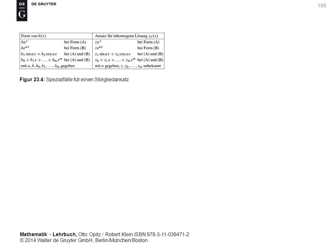 Mathematik ‒ Lehrbuch, Otto Opitz / Robert Klein ISBN 978-3-11-036471-2 © 2014 Walter de Gruyter GmbH, Berlin/Mu ̈ nchen/Boston 186 Figur 23.4: Spezialfälle fu ̈ r einen Störgliedansatz