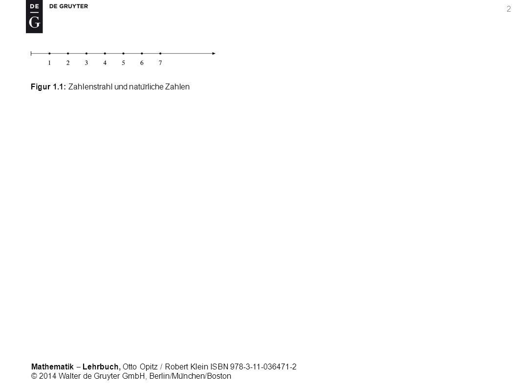 Mathematik ‒ Lehrbuch, Otto Opitz / Robert Klein ISBN 978-3-11-036471-2 © 2014 Walter de Gruyter GmbH, Berlin/Mu ̈ nchen/Boston 2 Figur 1.1: Zahlenstrahl und natu ̈ rliche Zahlen