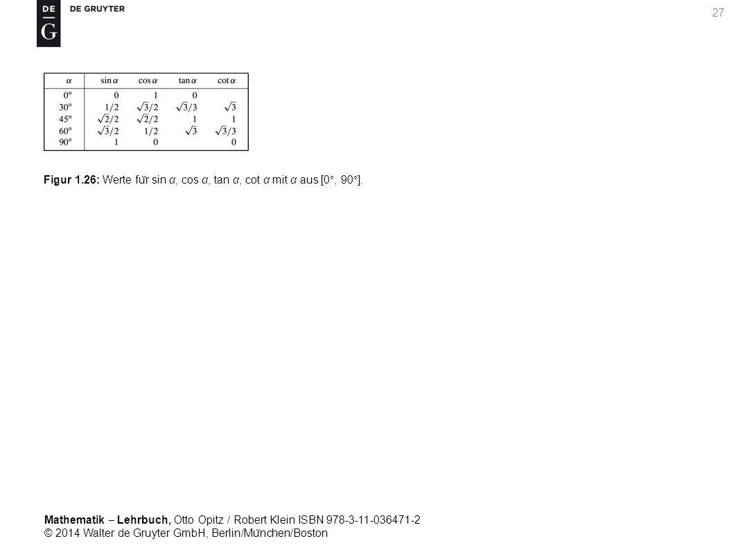 Mathematik ‒ Lehrbuch, Otto Opitz / Robert Klein ISBN 978-3-11-036471-2 © 2014 Walter de Gruyter GmbH, Berlin/Mu ̈ nchen/Boston 27 Figur 1.26: Werte fu ̈ r sin α, cos α, tan α, cot α mit α aus [0°, 90°].