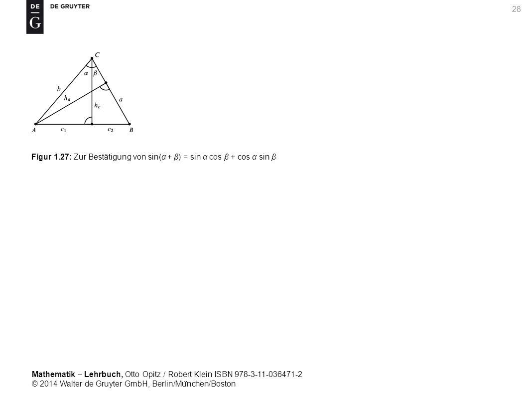 Mathematik ‒ Lehrbuch, Otto Opitz / Robert Klein ISBN 978-3-11-036471-2 © 2014 Walter de Gruyter GmbH, Berlin/Mu ̈ nchen/Boston 28 Figur 1.27: Zur Bestätigung von sin(α + β) = sin α cos β + cos α sin β