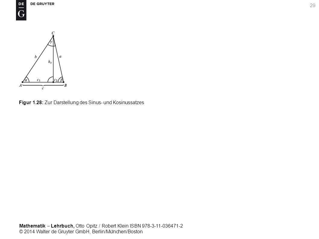 Mathematik ‒ Lehrbuch, Otto Opitz / Robert Klein ISBN 978-3-11-036471-2 © 2014 Walter de Gruyter GmbH, Berlin/Mu ̈ nchen/Boston 29 Figur 1.28: Zur Darstellung des Sinus- und Kosinussatzes