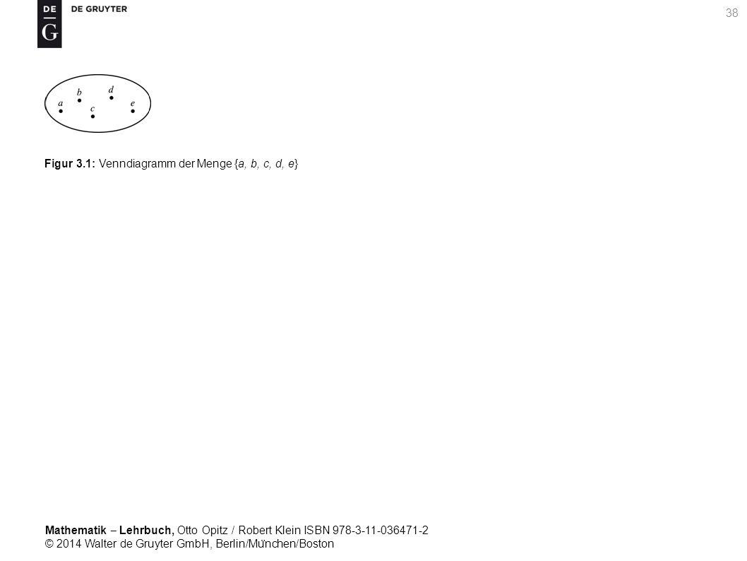 Mathematik ‒ Lehrbuch, Otto Opitz / Robert Klein ISBN 978-3-11-036471-2 © 2014 Walter de Gruyter GmbH, Berlin/Mu ̈ nchen/Boston 38 Figur 3.1: Venndiagramm der Menge {a, b, c, d, e}