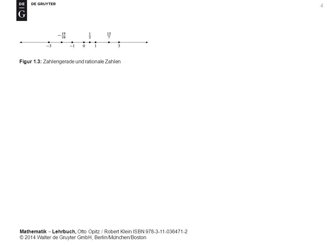 Mathematik ‒ Lehrbuch, Otto Opitz / Robert Klein ISBN 978-3-11-036471-2 © 2014 Walter de Gruyter GmbH, Berlin/Mu ̈ nchen/Boston 4 Figur 1.3: Zahlengerade und rationale Zahlen