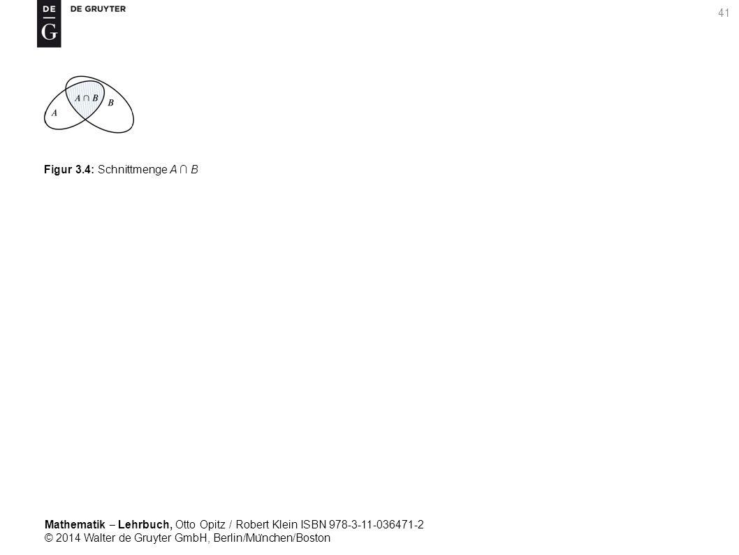 Mathematik ‒ Lehrbuch, Otto Opitz / Robert Klein ISBN 978-3-11-036471-2 © 2014 Walter de Gruyter GmbH, Berlin/Mu ̈ nchen/Boston 41 Figur 3.4: Schnittmenge A ∩ B