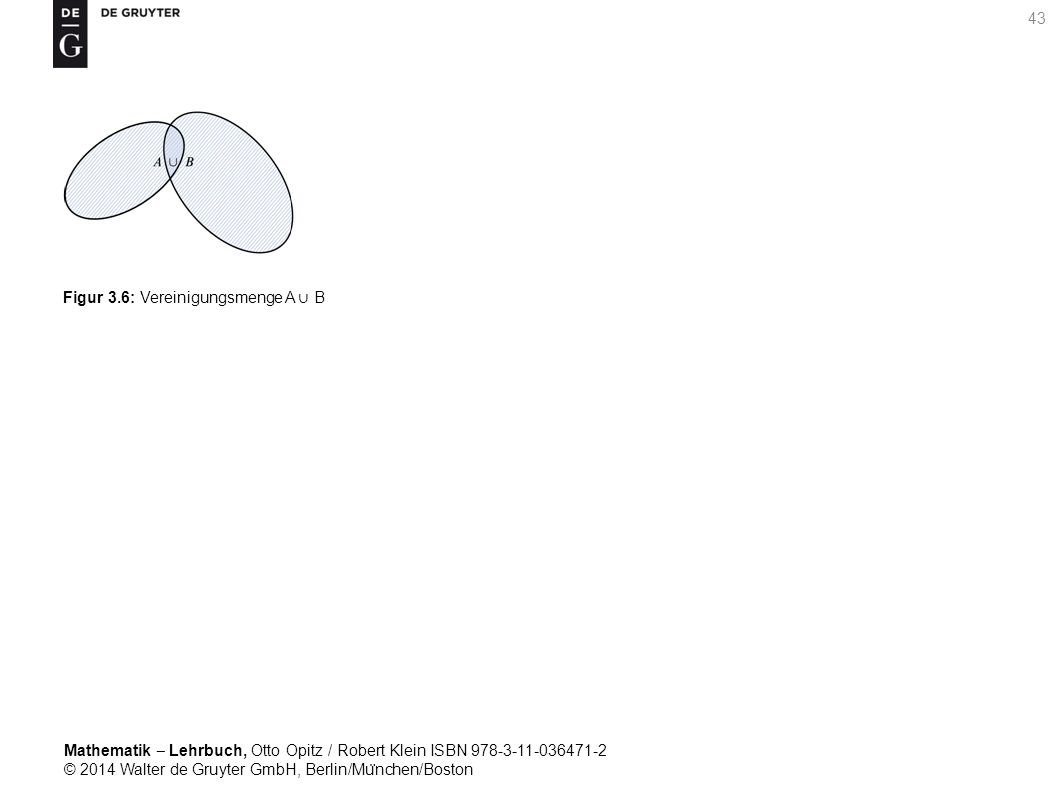 Mathematik ‒ Lehrbuch, Otto Opitz / Robert Klein ISBN 978-3-11-036471-2 © 2014 Walter de Gruyter GmbH, Berlin/Mu ̈ nchen/Boston 43 Figur 3.6: Vereinigungsmenge A ∪ B