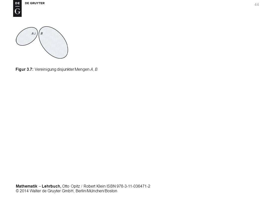 Mathematik ‒ Lehrbuch, Otto Opitz / Robert Klein ISBN 978-3-11-036471-2 © 2014 Walter de Gruyter GmbH, Berlin/Mu ̈ nchen/Boston 44 Figur 3.7: Vereinigung disjunkter Mengen A, B