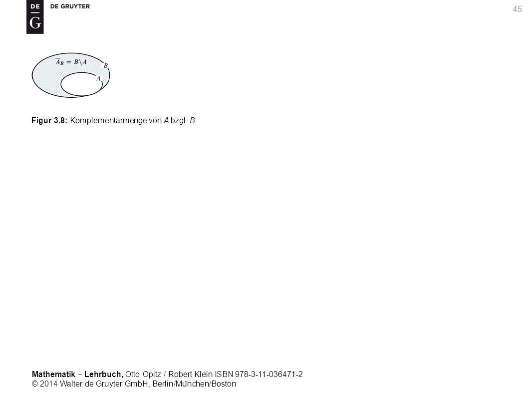Mathematik ‒ Lehrbuch, Otto Opitz / Robert Klein ISBN 978-3-11-036471-2 © 2014 Walter de Gruyter GmbH, Berlin/Mu ̈ nchen/Boston 45 Figur 3.8: Komplementärmenge von A bzgl.