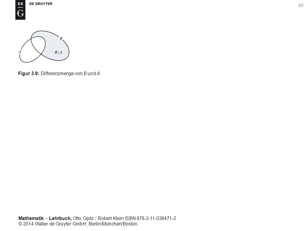 Mathematik ‒ Lehrbuch, Otto Opitz / Robert Klein ISBN 978-3-11-036471-2 © 2014 Walter de Gruyter GmbH, Berlin/Mu ̈ nchen/Boston 46 Figur 3.9: Differenzmenge von B und A