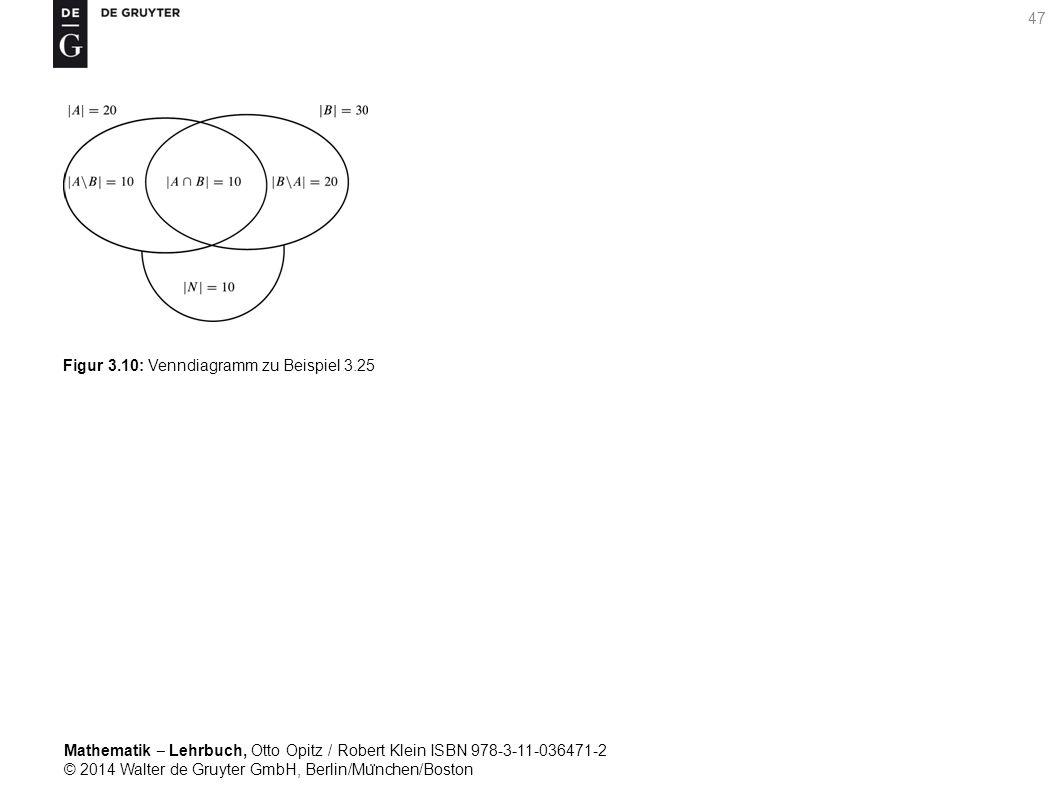 Mathematik ‒ Lehrbuch, Otto Opitz / Robert Klein ISBN 978-3-11-036471-2 © 2014 Walter de Gruyter GmbH, Berlin/Mu ̈ nchen/Boston 47 Figur 3.10: Venndiagramm zu Beispiel 3.25