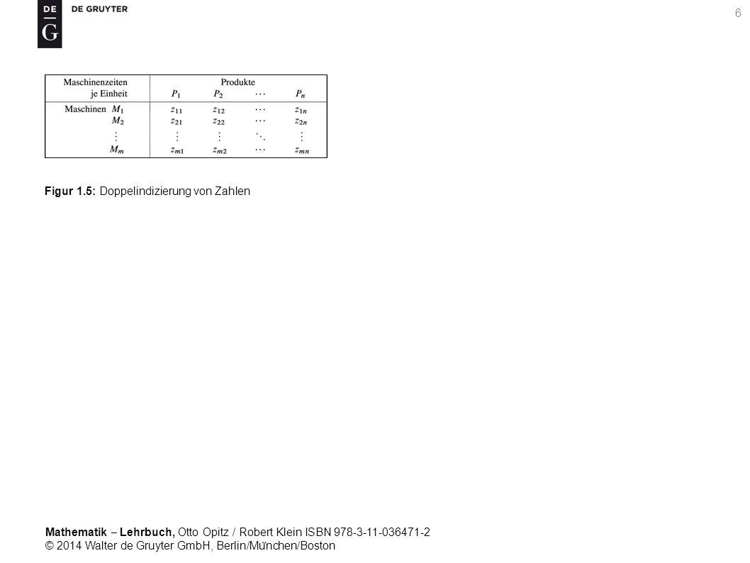 Mathematik ‒ Lehrbuch, Otto Opitz / Robert Klein ISBN 978-3-11-036471-2 © 2014 Walter de Gruyter GmbH, Berlin/Mu ̈ nchen/Boston 6 Figur 1.5: Doppelindizierung von Zahlen