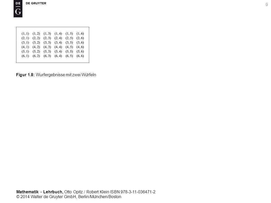 Mathematik ‒ Lehrbuch, Otto Opitz / Robert Klein ISBN 978-3-11-036471-2 © 2014 Walter de Gruyter GmbH, Berlin/Mu ̈ nchen/Boston 9 Figur 1.8: Wurfergebnisse mit zwei Wu ̈ rfeln