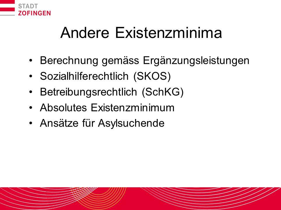 Andere Existenzminima Berechnung gemäss Ergänzungsleistungen Sozialhilferechtlich (SKOS) Betreibungsrechtlich (SchKG) Absolutes Existenzminimum Ansätz