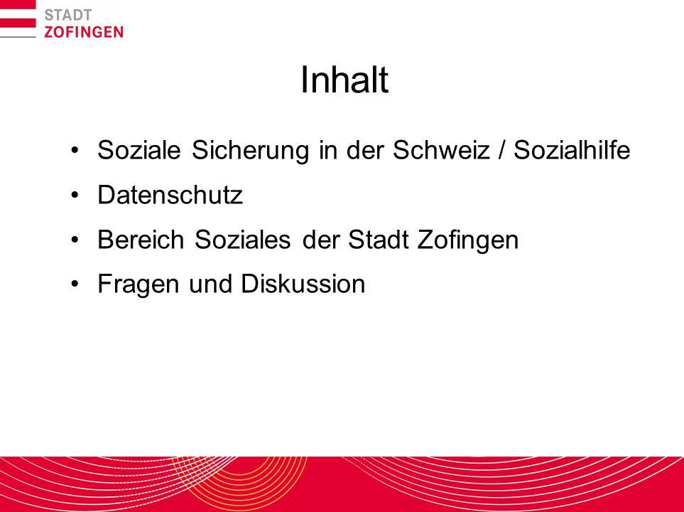 Inhalt Soziale Sicherung in der Schweiz / Sozialhilfe Datenschutz Bereich Soziales der Stadt Zofingen Fragen und Diskussion