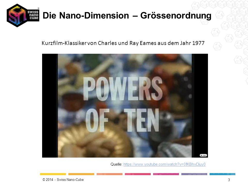 © 2014 - Swiss Nano-Cube Die Nano-Dimension – Grössenordnung 3 Quelle: https://www.youtube.com/watch?v=0fKBhvDjuy0 Kurzfilm-Klassiker von Charles und Ray Eames aus dem Jahr 1977